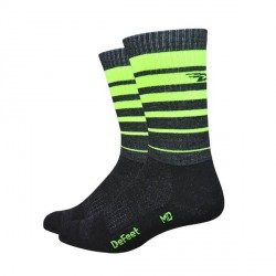 Defeet Classico Charcoal with yellow hi-vis stripes