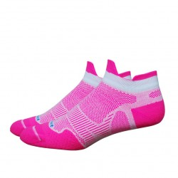 Chaussettes Defeet Meta Tabby Rose fluo Blanc