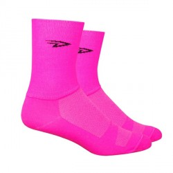 Chaussettes Defeet Aireator Hi-Top double layer rose fluo