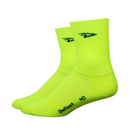 Chaussettes Defeet Aireator Hi-Top double layer jaune fluo
