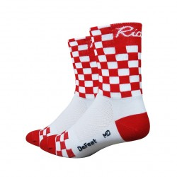 Chaussettes DeFeet Aireator Checkmate rouge