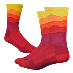Chaussettes DeFeet Ridge Supply Sunset rouge et jaune