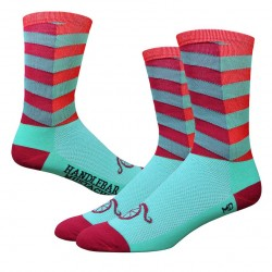 "DeFeet Handlebar Mustache Aireator 6"" City Sock - Turquoise/Red"