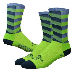 "DeFeet Handlebar Mustache Aireator 6"" City Sock - Lime/Grey"