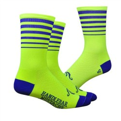 Chaussettes DeFeet Handlebar Mustache Between the lines jaune fluo