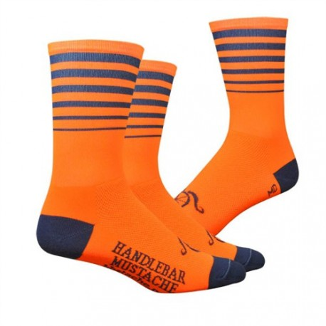 Chaussettes DeFeet Handlebar Mustache Between the lines orange fluo
