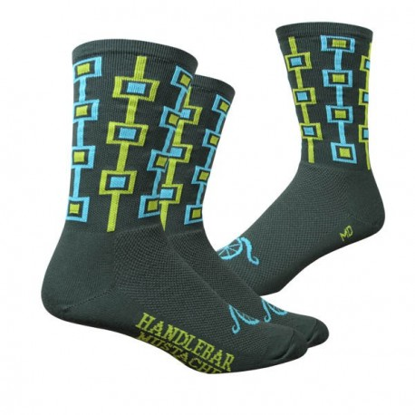 Chaussettes DeFeet Handlebar Mustache Don't be a Square olive