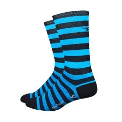 DeFeet Aireator black & ocean blue stripes 6 inches