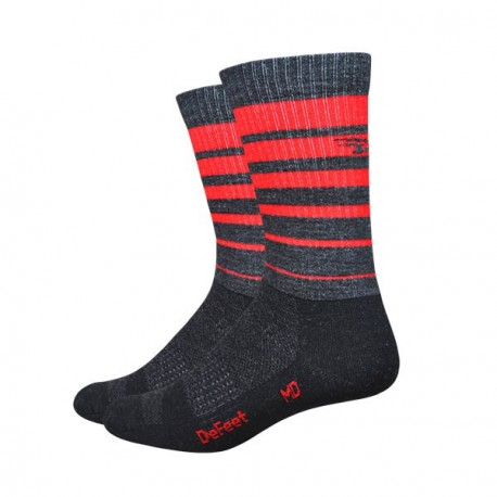 Defeet Classico Charcoal with red stripes