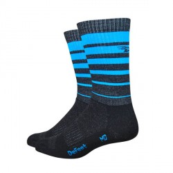 Defeet Classico Charcoal with ocean blue hi-vis stripes