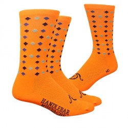 Chaussettes DeFeet Handlebar Mustache Bling Bling orange