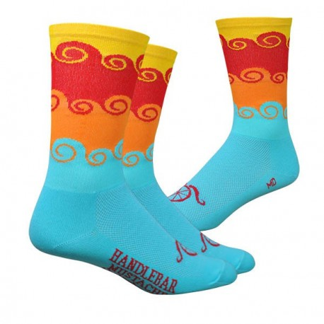 "Chaussettes DeFeet Handlebar Mustache ""Amongst the waves"" bleu"