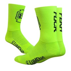 Chaussettes DeFeet 8 Lumens jaune fluo fuck yeah