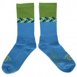 "Chaussettes DeFeet Handlebar Mustache ""Don't get it twisted"" bleu"