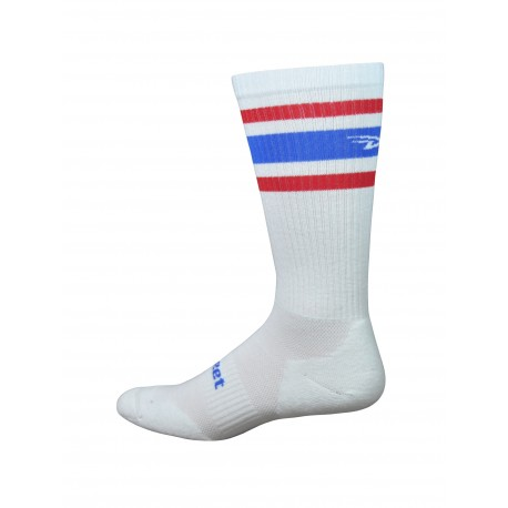 DeFeet D-Evo crew white red and blue stripes