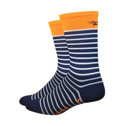 "Defeet Aireator 6"" Hi-Top Navy blue with orange stripe Sailor"