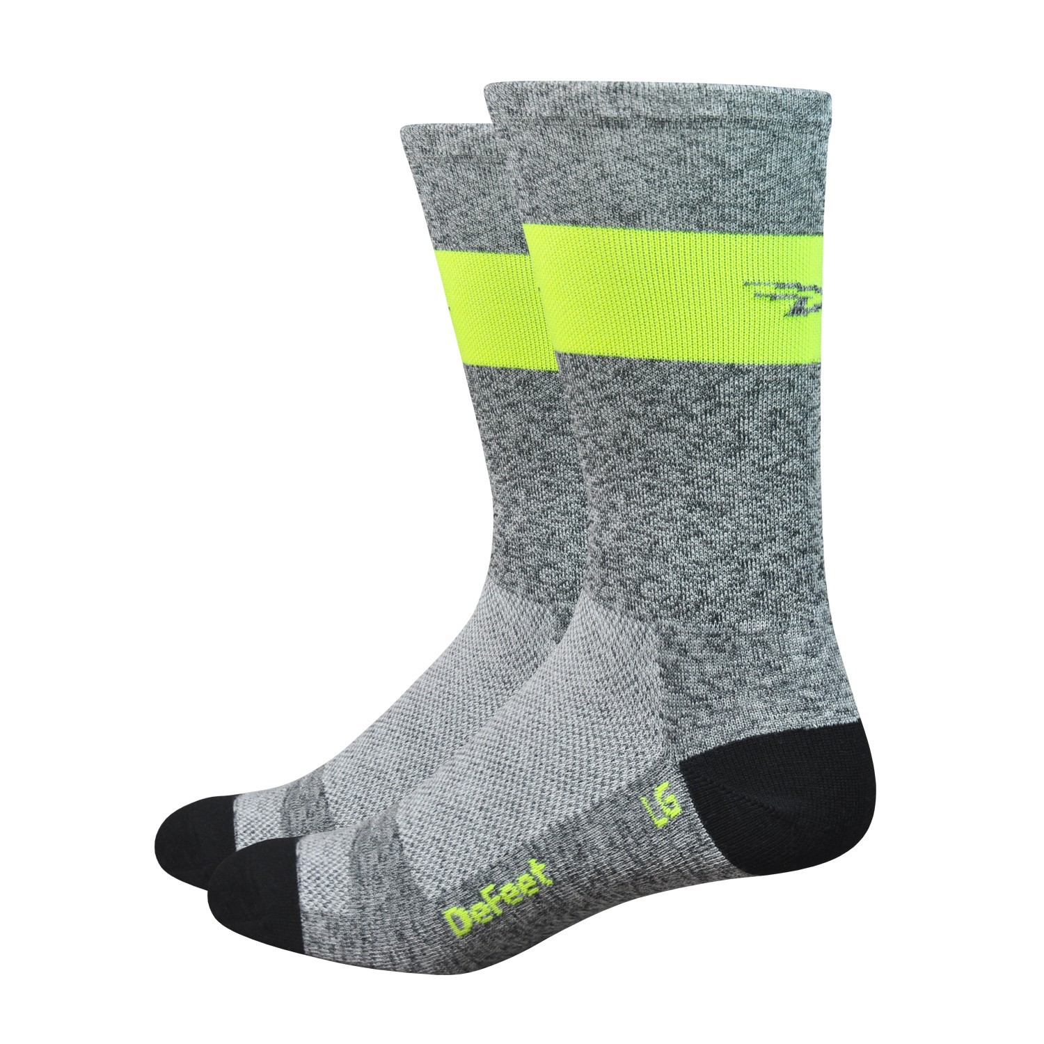 chaussettes defeet aireator sl 6 gris et jaune fluo velo. Black Bedroom Furniture Sets. Home Design Ideas