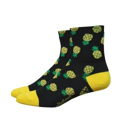 "DeFeet Aireator Women's 3"" Pineapple (Double Cuff) - Black/Yellow"