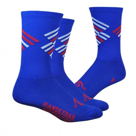 Handlebar Mustache socks offset blue white red