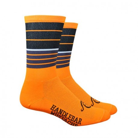 Chaussettes DeFeet Handlebar Mustache Biggie Smalls orange