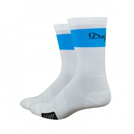 "Defeet Cyclismo 5"" trico white & neon blue"