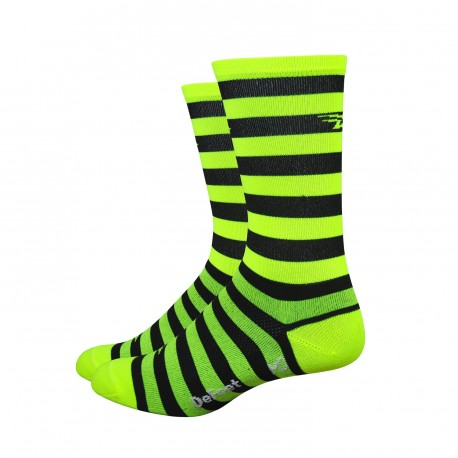 DeFeet Aireator black & yellow hivis stripes 6 inches