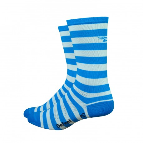DeFeet Aireator white & ocean blue stripes 6 inches