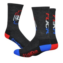 DeFeet Wooleator 8 Lumens Rocky Balboa blue white red fuck yeah