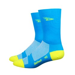 Chaussettes Defeet Aireator Hi-Top double layer bleu fluo