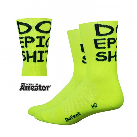 "DeFeet Aireator 5"" Do Epic Shit! Double Cuff Hi-vis Yellow"