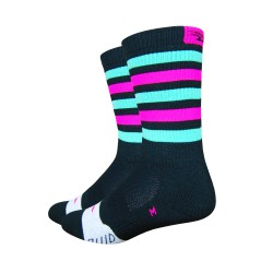 Defeet Thermeator black/celeste green & hi-vis pink stripes