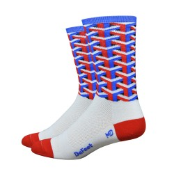 DeFeet Aireator Framework  blue white red socks