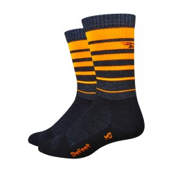 Defeet Classico Charcoal with orange stripes