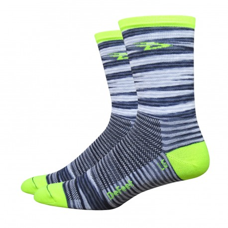 """Chaussettes DeFeet Aireator """"Urban Space"""" jaune fluo"""