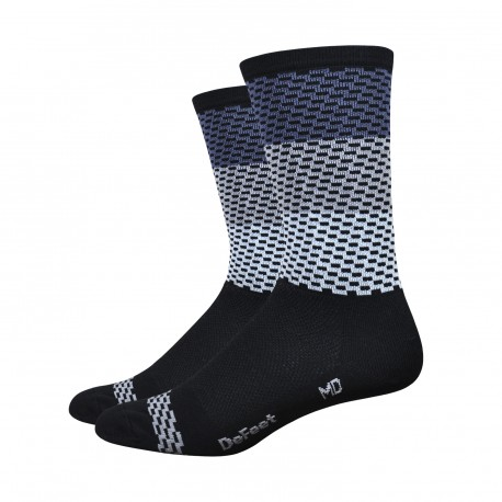 DeFeet Aireator 6 inches Charleston High Rouleur socks grey and white