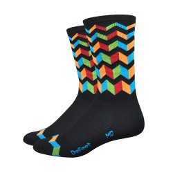 DeFeet Aireator JitterBug High Rouleur socks 6 inches black blue orange