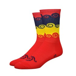 "Chaussettes DeFeet Handlebar Mustache ""Amongst the waves"" rouge"