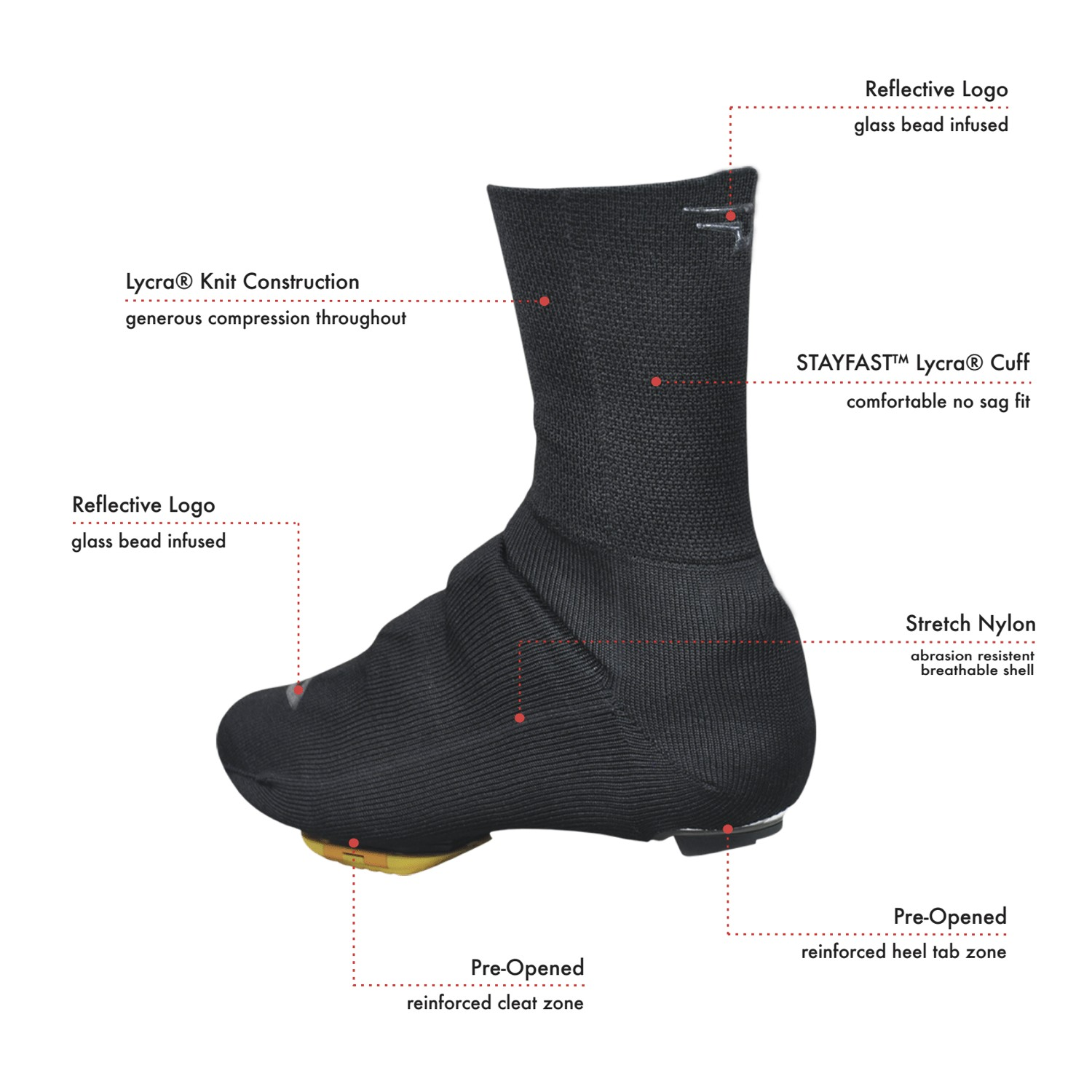 "DeFeet Slipstream Strada Shoe Cover 5/"" Wool"