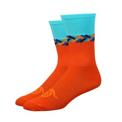 "Chaussettes DeFeet Handlebar Mustache ""Don't get it twisted"" orange"