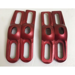 4 red anodized padholders