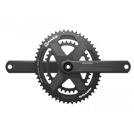 Rotor VEGAST crankset with rim or disc brakes axle + arms + spidering round or ovalized Qrings 12,5% 50/34 52/36 or 53/39