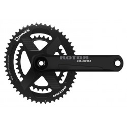 Rotor Aldhu 3D+ crankset with rim or disc brakes axle + arms + spidering round or ovalized Qrings 12,5% 50*34 52*36 or 53*39