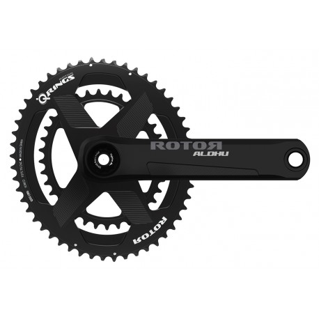 Rotor Aldhu 3D+ crankset with rim or disc brakes axle + arms + spidering round or ovalized Qrings 12,5% 50/34 52/36 or 53/39