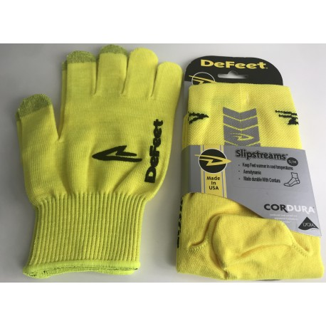 Kit jaune fluo DeFeet taille S (gants et couvre chaussures)