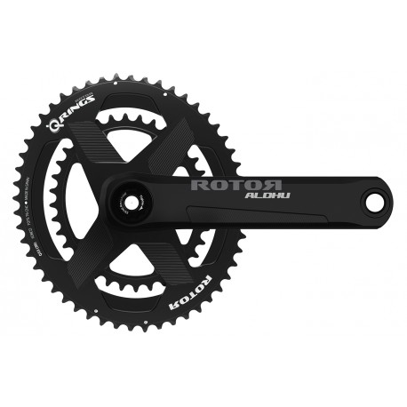 Rotor Aldhu 24 crankset with rim brakes axle + arms + spidering round or ovalized Qrings 12,5% 50*34 52*36 or 53*39