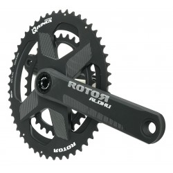 Rotor Aldhu 24 crankset with axle + arms + spidering round or ovalized Qrings 12,5% 46/30 48/32 50/34 52/36 or 53/39