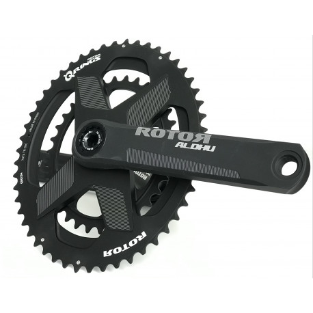Rotor Aldhu 3D+ crankset with 50/34 Qrings spidering