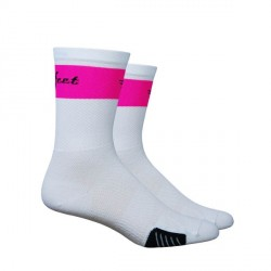 Chaussettes Defeet Cyclismo Trico blanc et rose