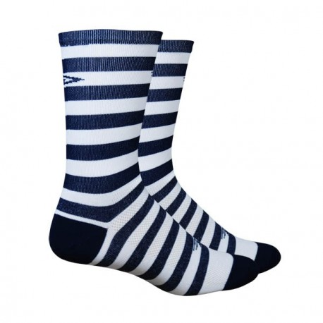 "Defeet Aireator 6"" Hi-Top Navy blue with white stripes ""marinière"""